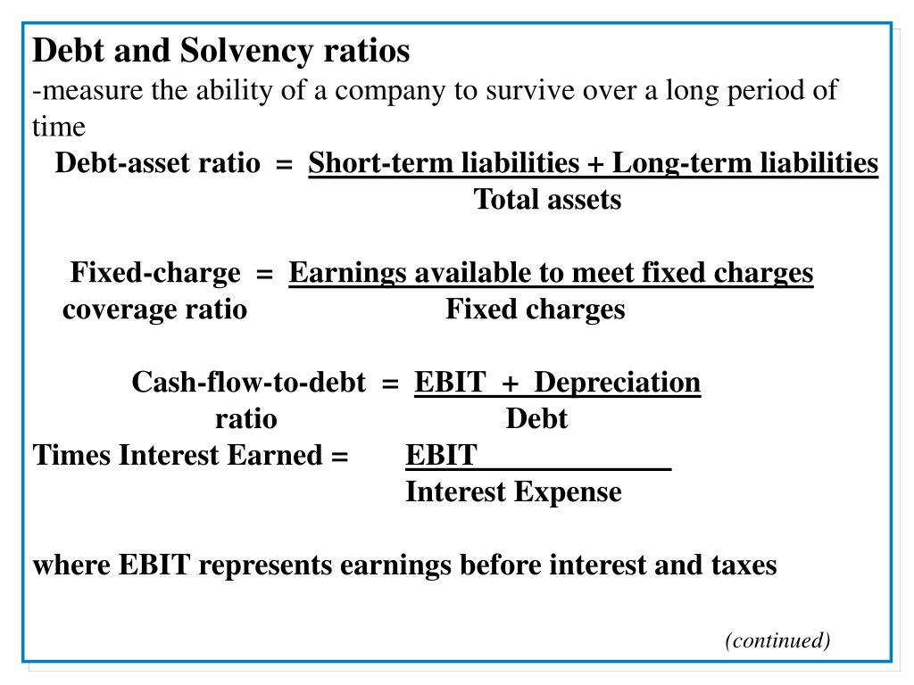 Debt and Solvency ratios