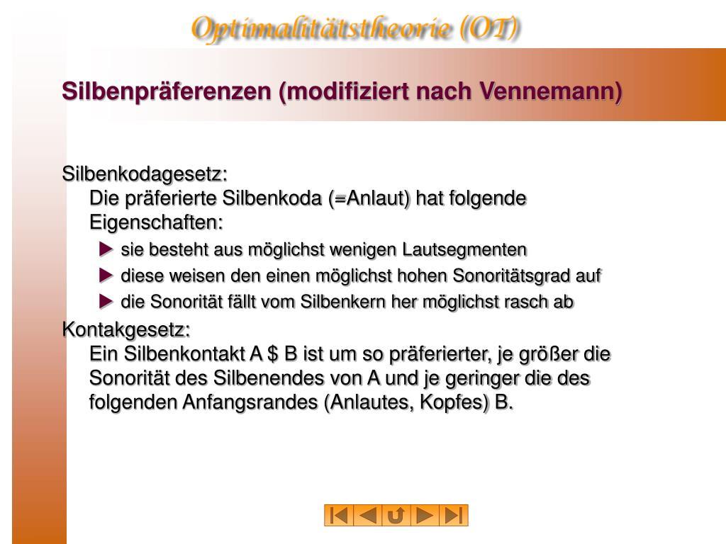 Silbenpräferenzen (modifiziert nach Vennemann)