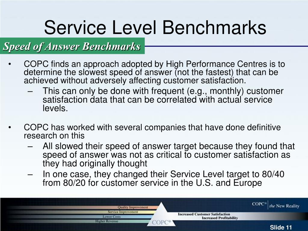 Service Level Benchmarks