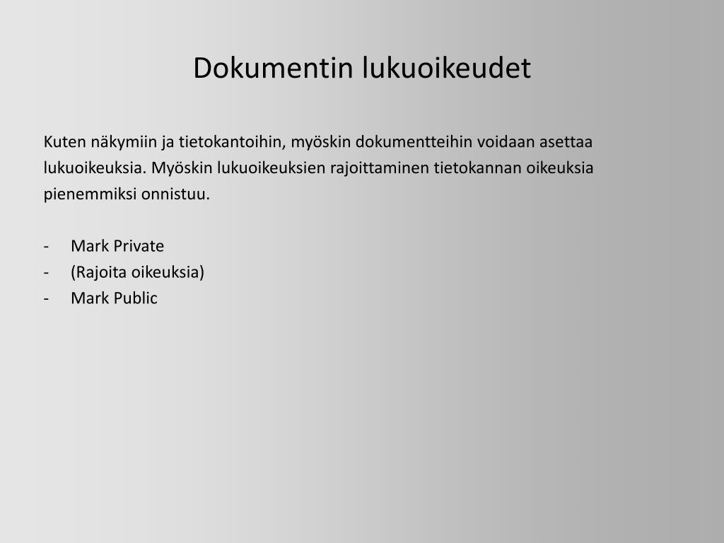 Dokumentin lukuoikeudet
