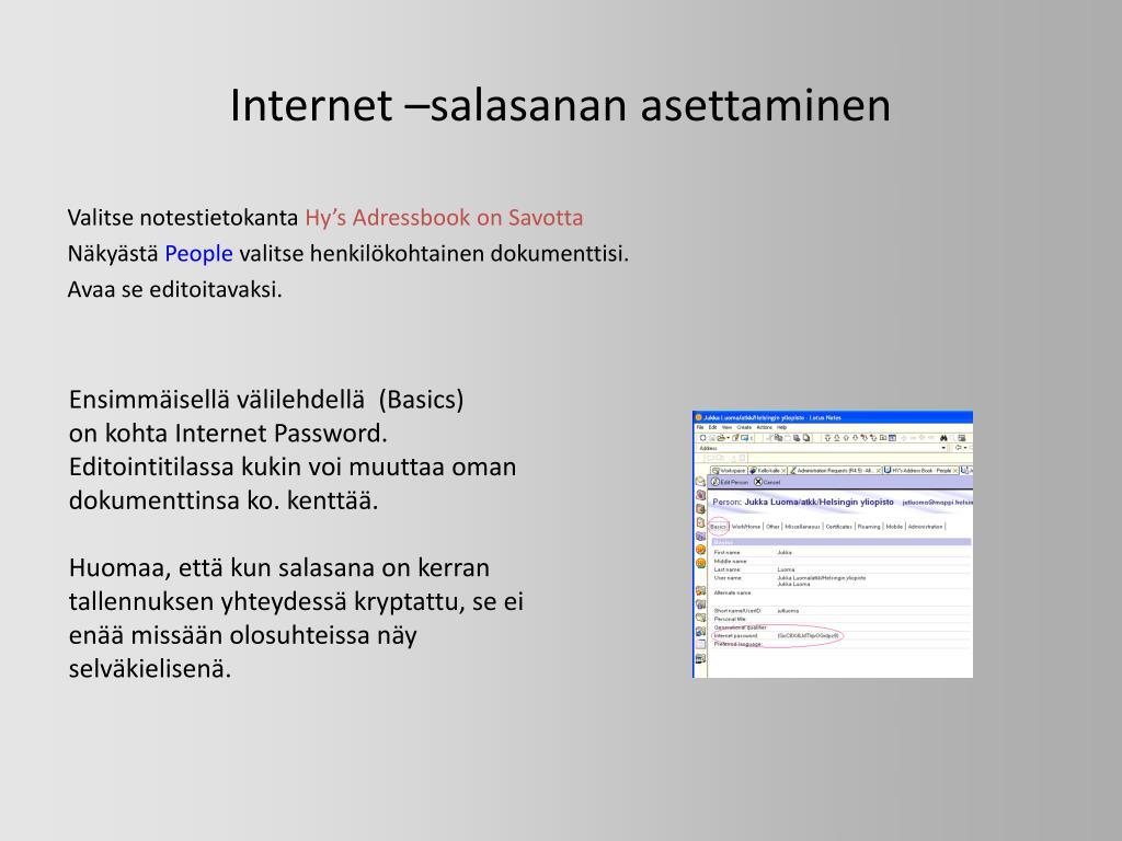 Internet –salasanan asettaminen