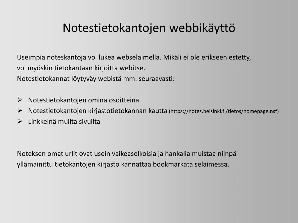 Notestietokantojen webbikäyttö