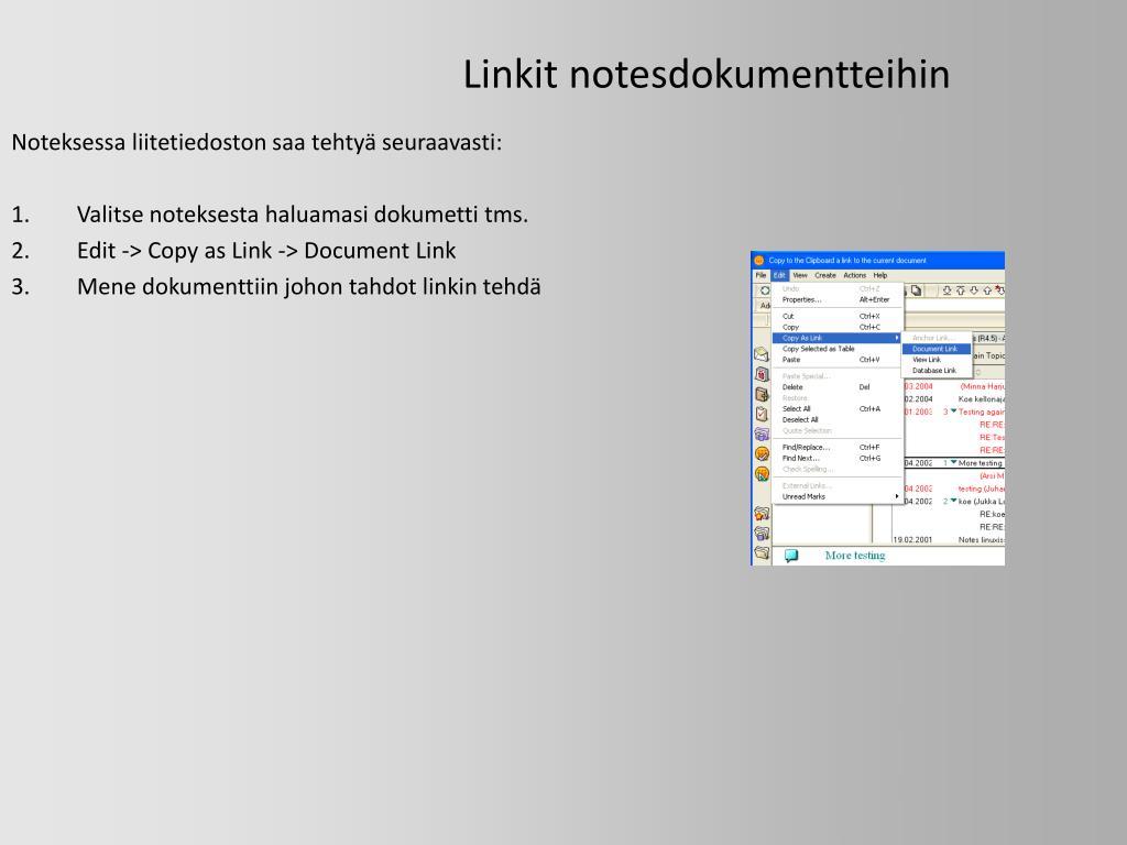 Linkit notesdokumentteihin