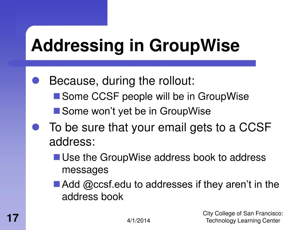 Addressing in GroupWise