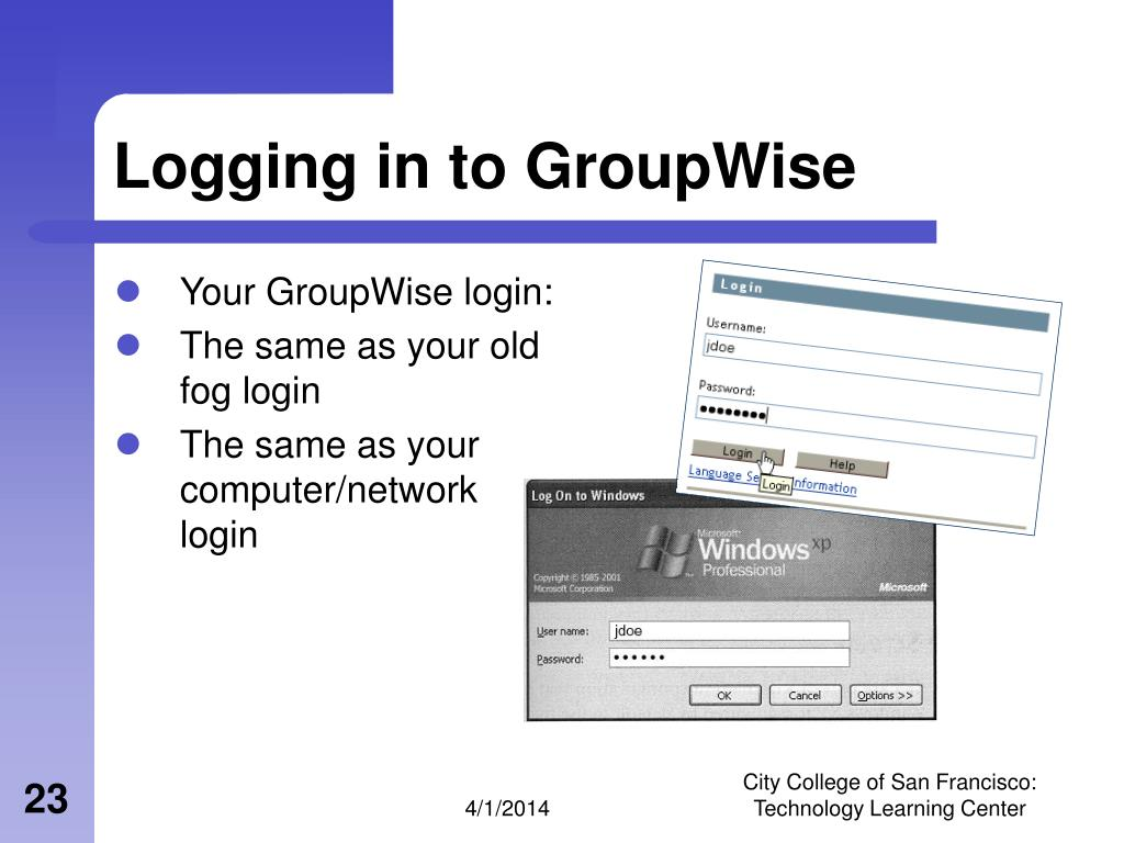 Logging in to GroupWise