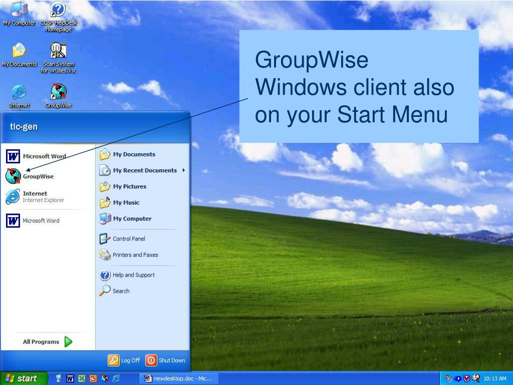 GroupWise Windows client also on your Start Menu