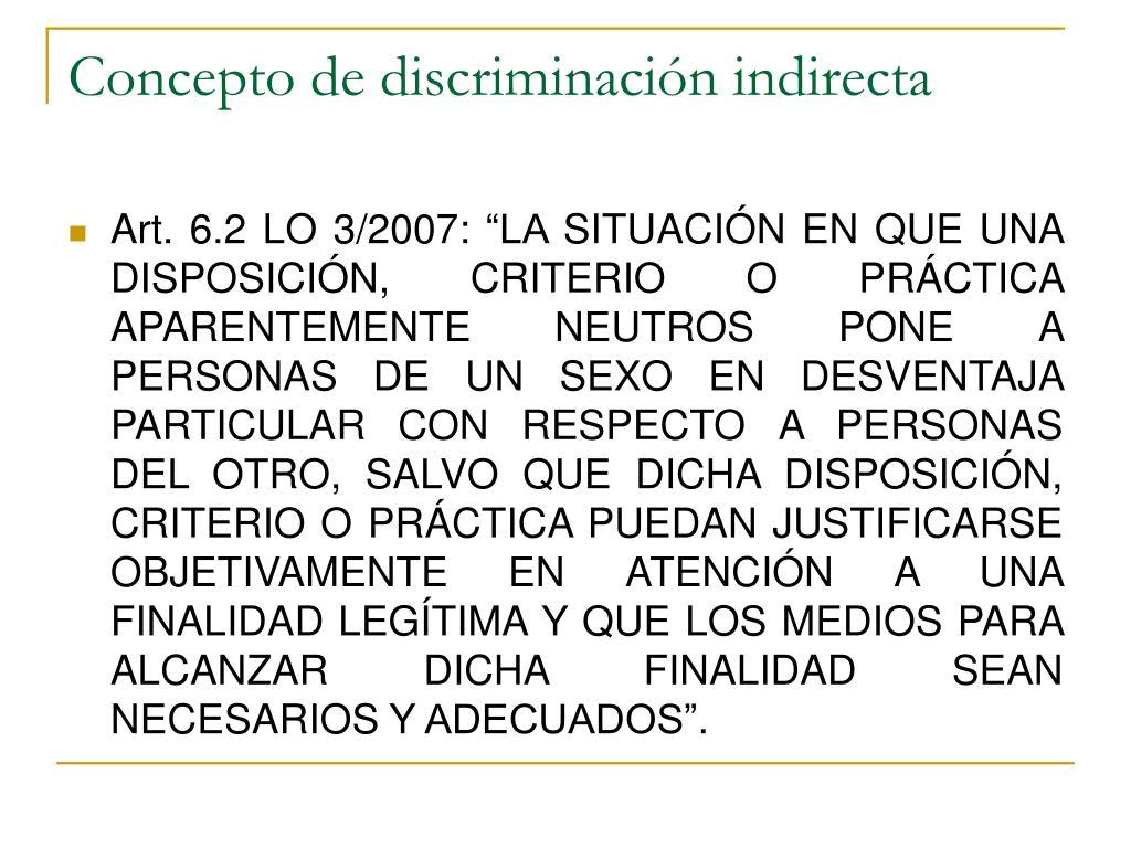 Concepto de discriminación indirecta