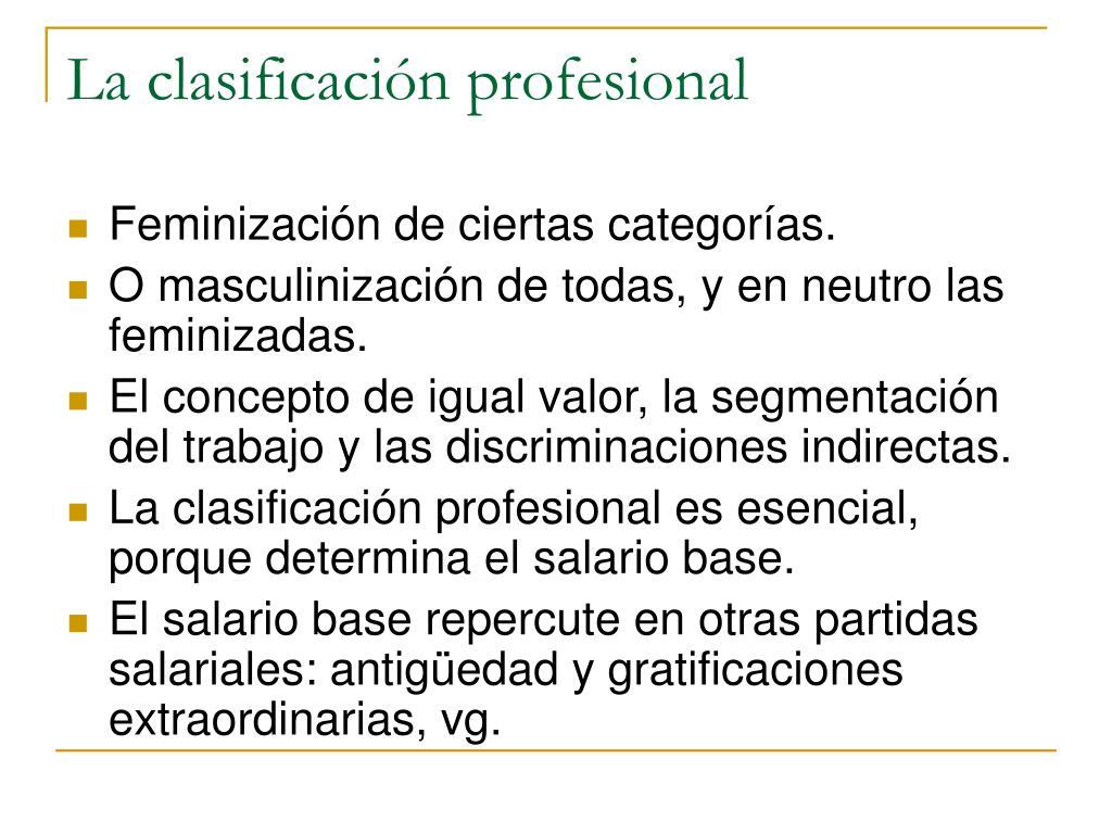 La clasificación profesional