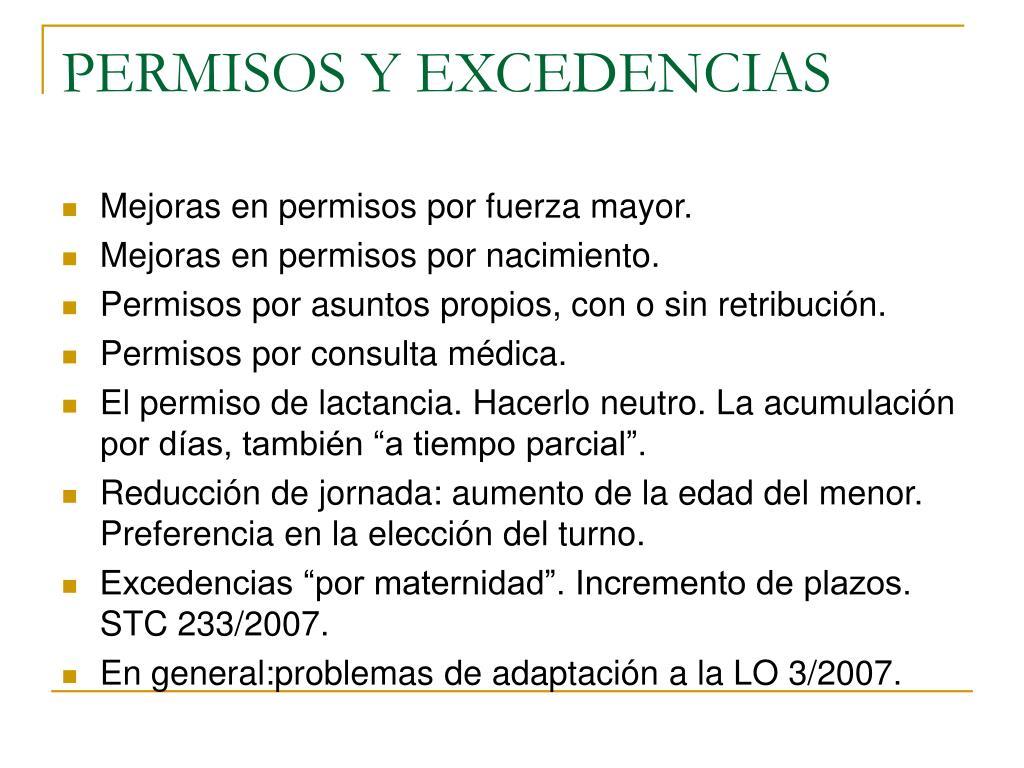 PERMISOS Y EXCEDENCIAS