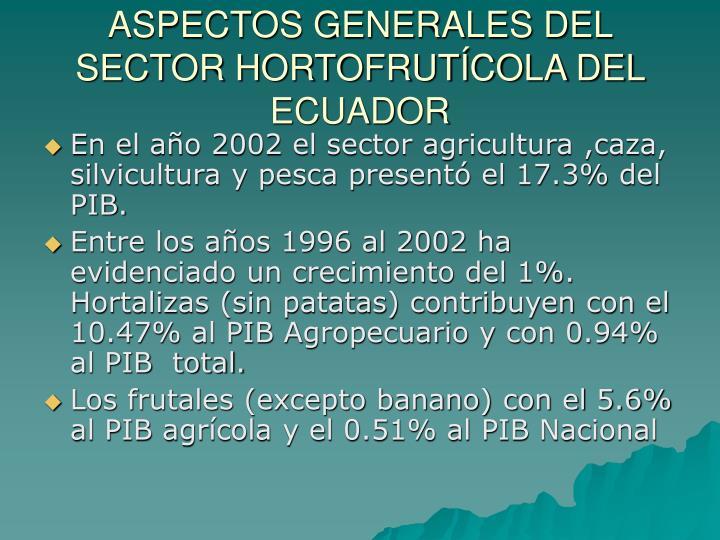 Aspectos generales del sector hortofrut cola del ecuador