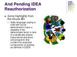 and pending idea reauthorization