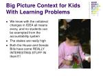 big picture context for kids with learning problems