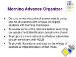 morning advance organizer