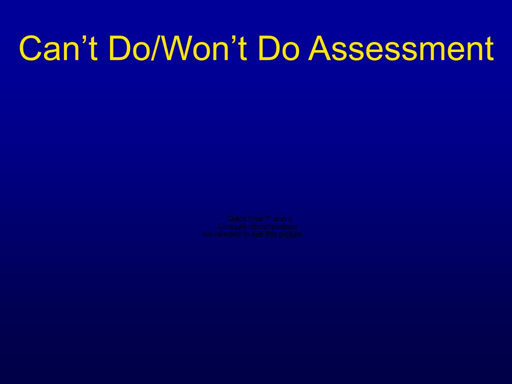 Can't Do/Won't Do Assessment