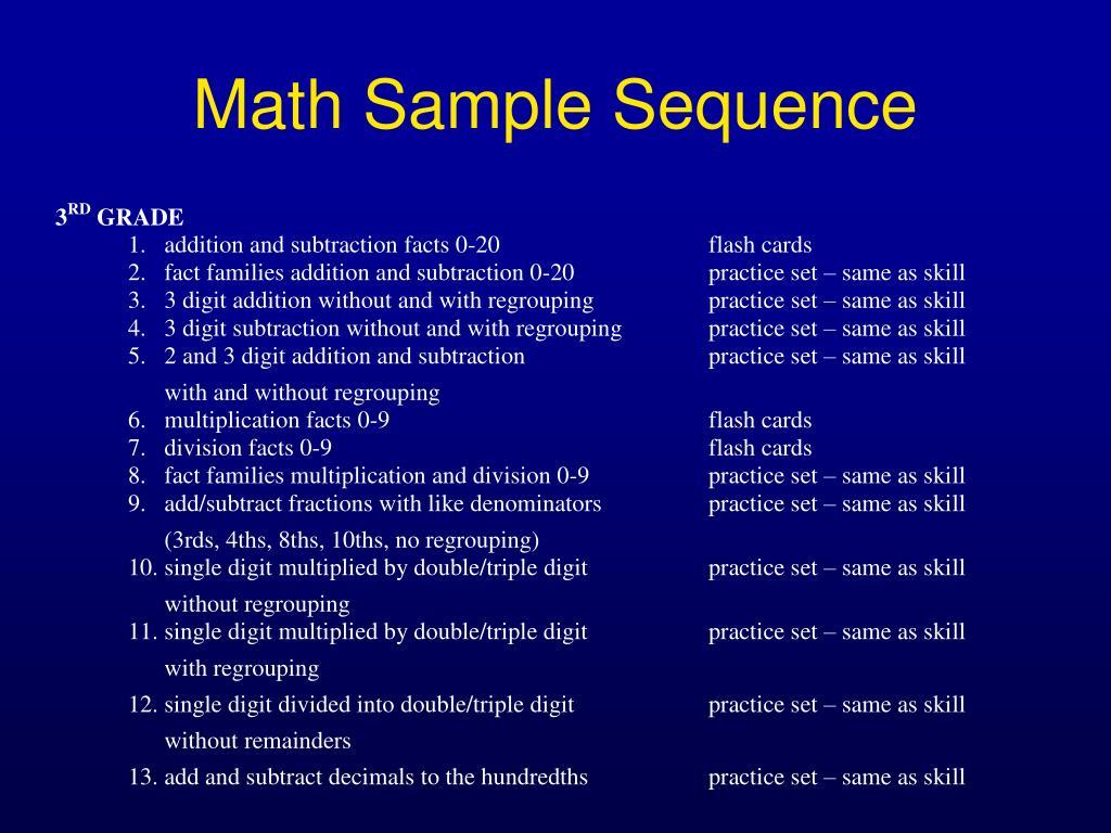 Math Sample Sequence