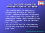 collaboration with nhs research infrastructure