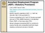 annuitant employment program aep statutory provisions