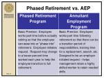 phased retirement vs aep