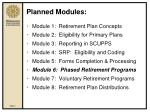 planned modules