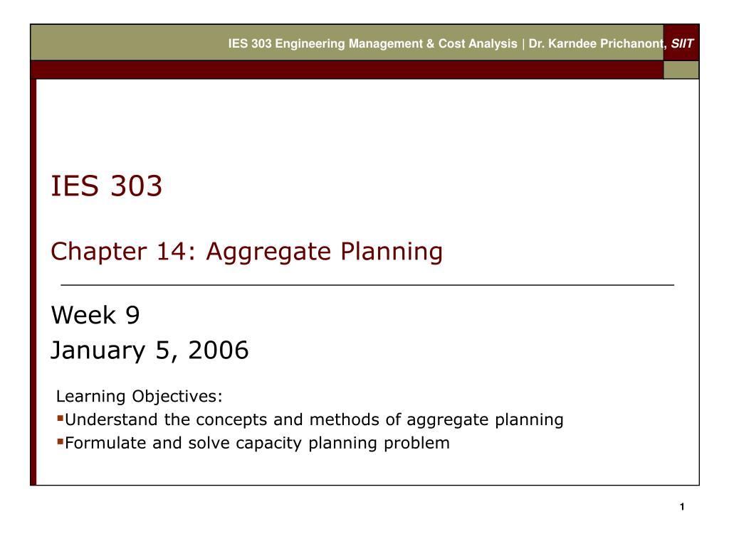 ies 303 chapter 14 aggregate planning l.