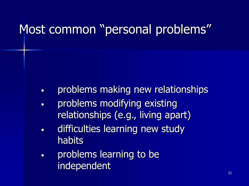 "Most common ""personal problems"""