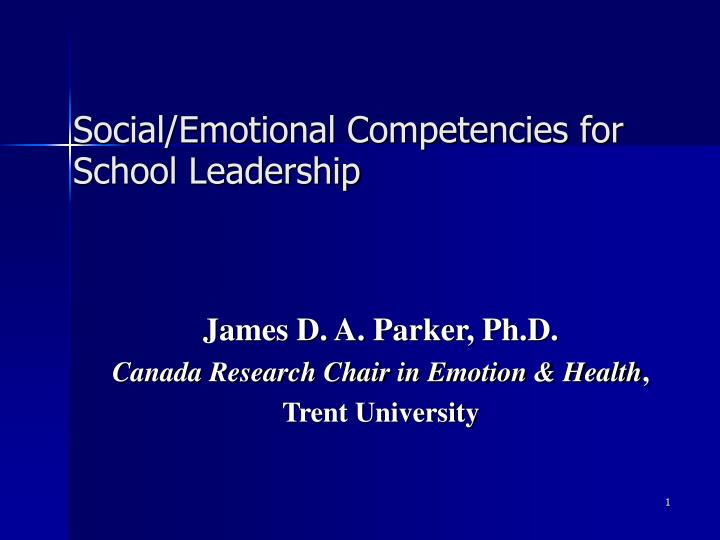 Social emotional competencies for school leadership