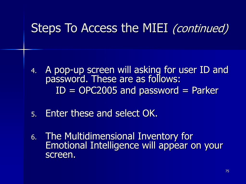 Steps To Access the MIEI