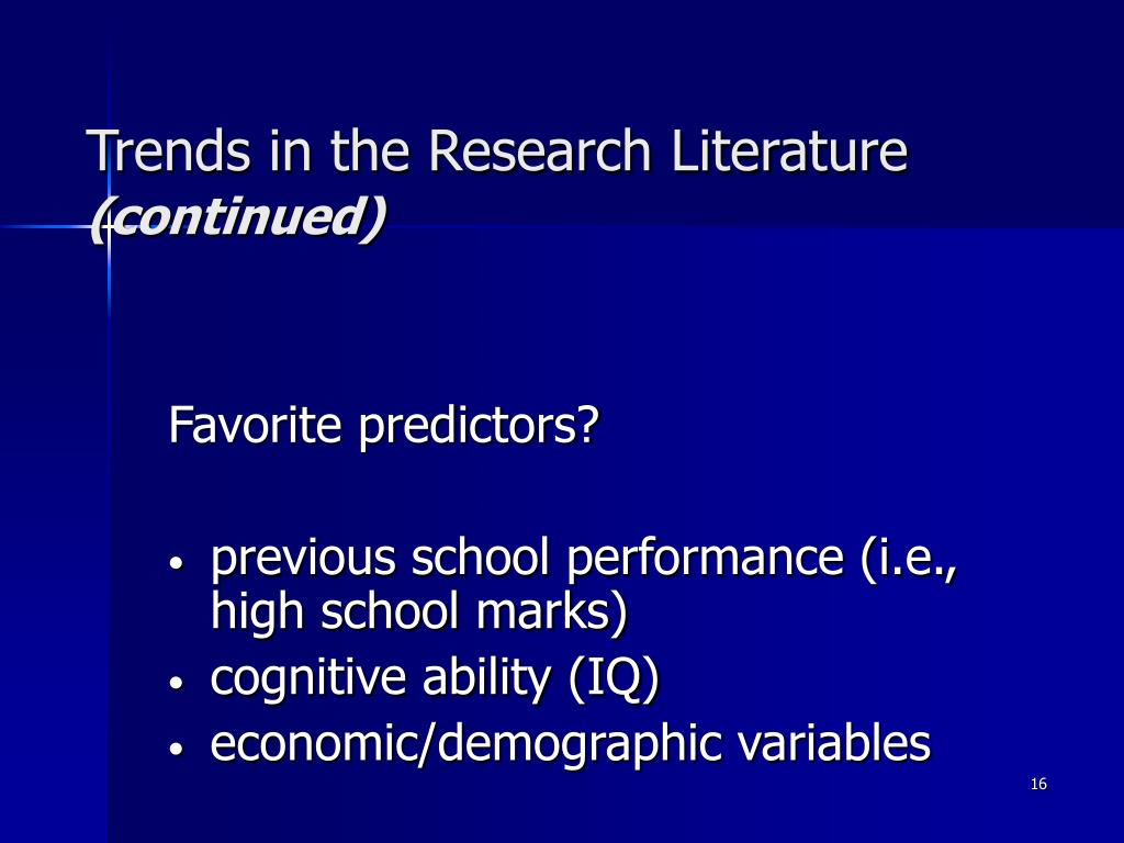Trends in the Research Literature