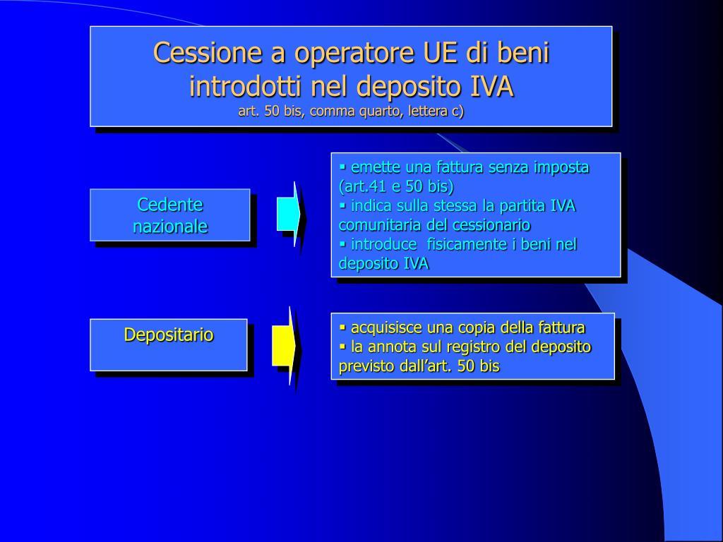 Cessione a operatore UE di beni introdotti nel deposito IVA
