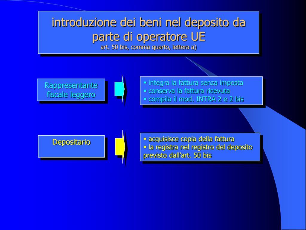 introduzione dei beni nel deposito da parte di operatore UE