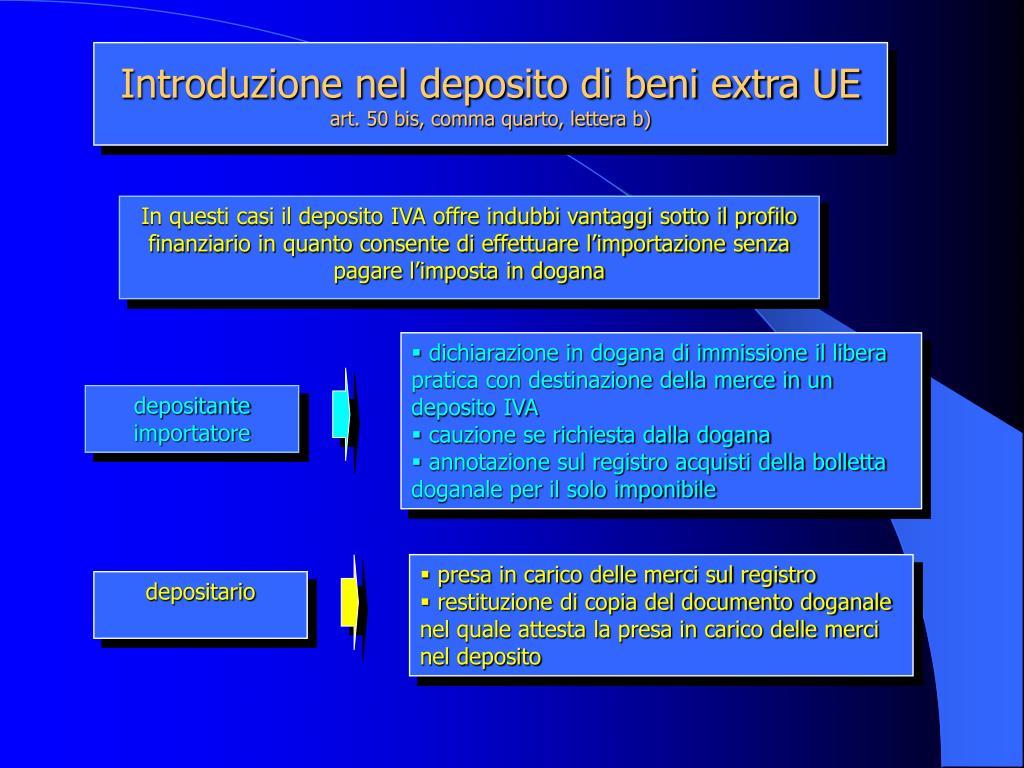 Introduzione nel deposito di beni extra UE