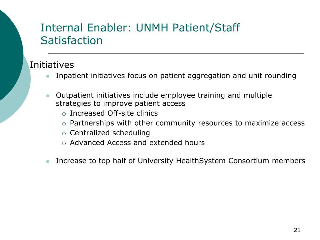 Internal Enabler: UNMH Patient/Staff Satisfaction