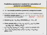 p redictive posterior models for calculation of posterior probabilities