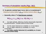 summary of simulation results figs 1 2