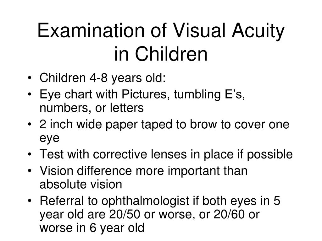 Examination of Visual Acuity in Children