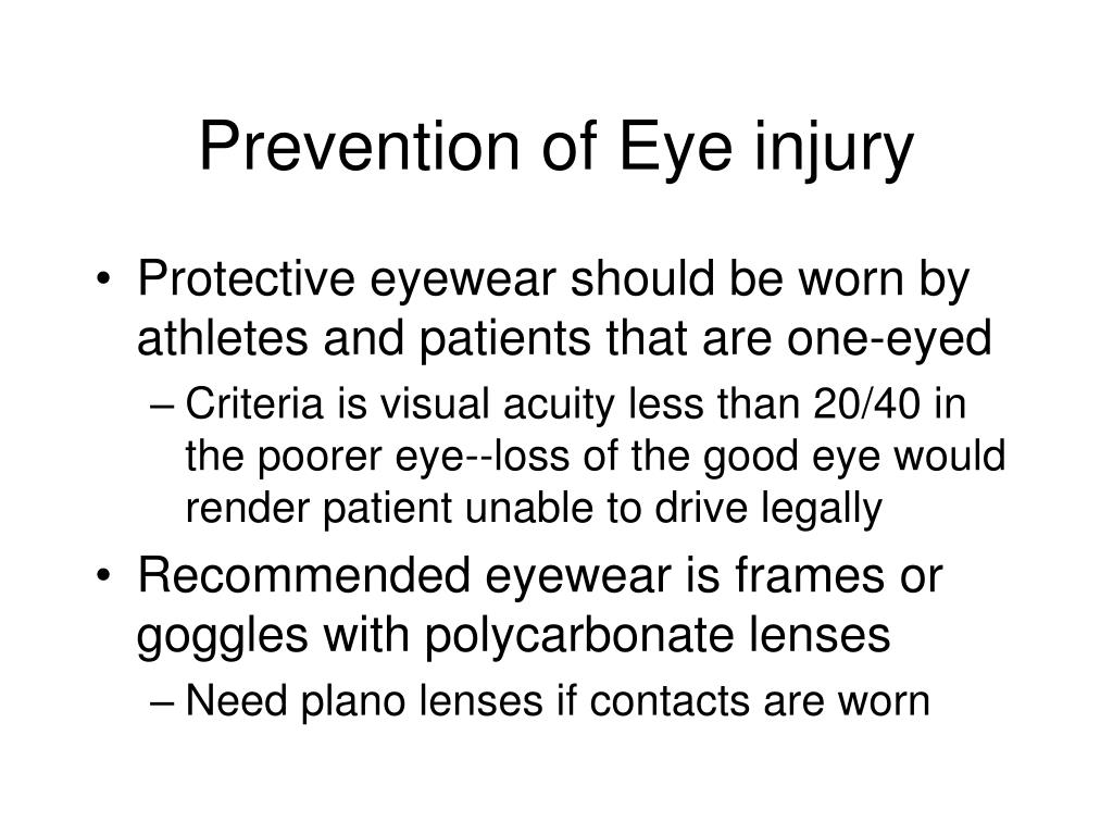 Prevention of Eye injury