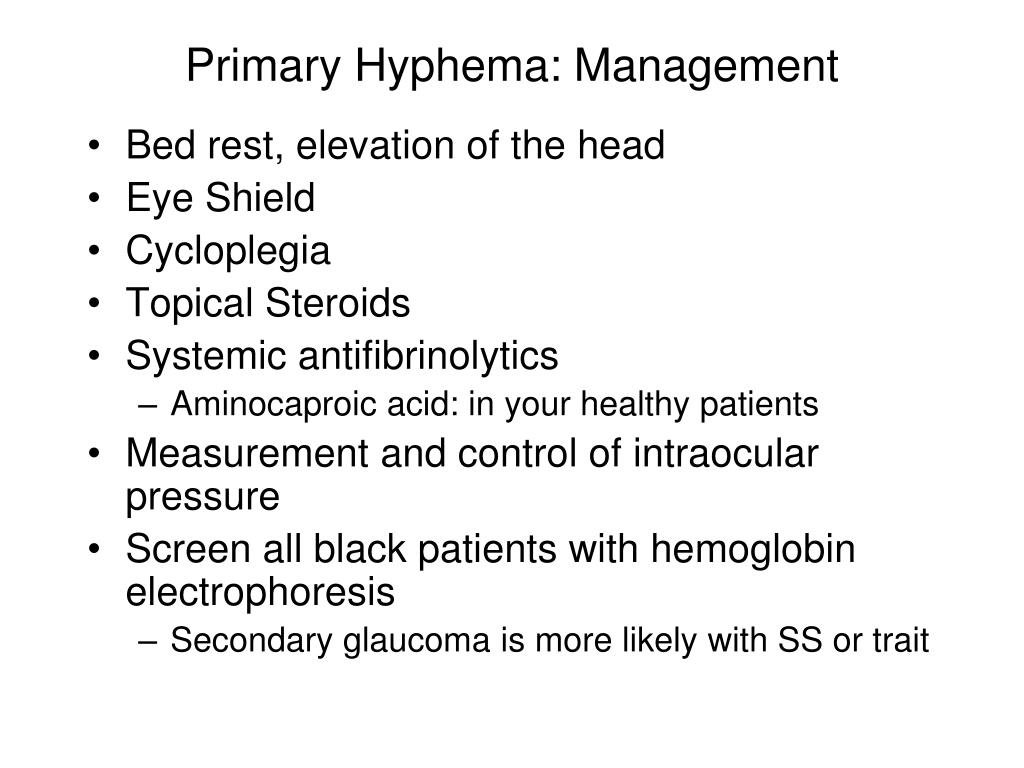Primary Hyphema: Management