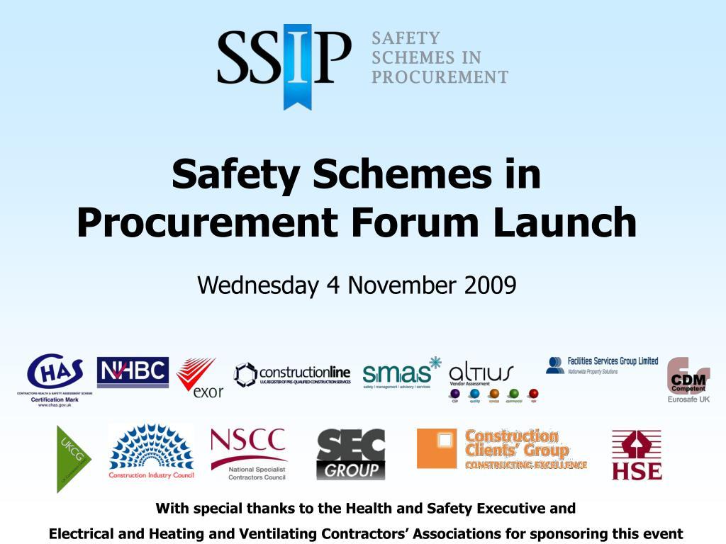 safety schemes in procurement forum launch
