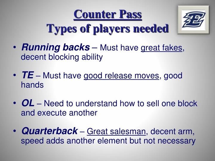 Counter pass types of players needed