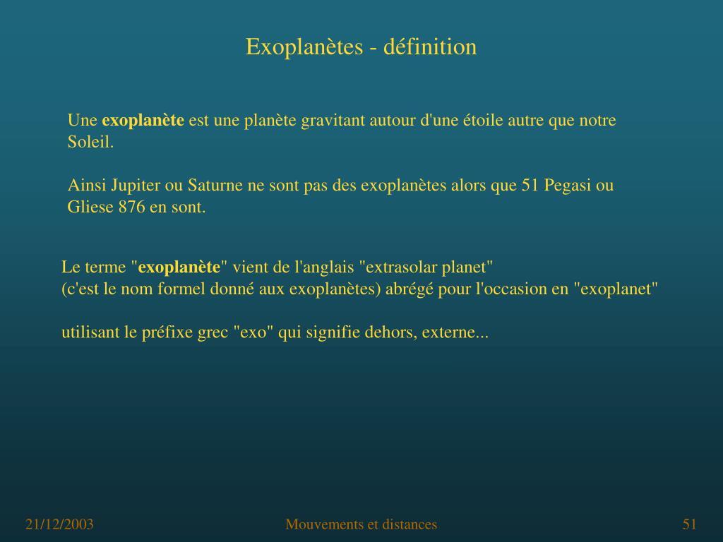 Exoplanètes - définition