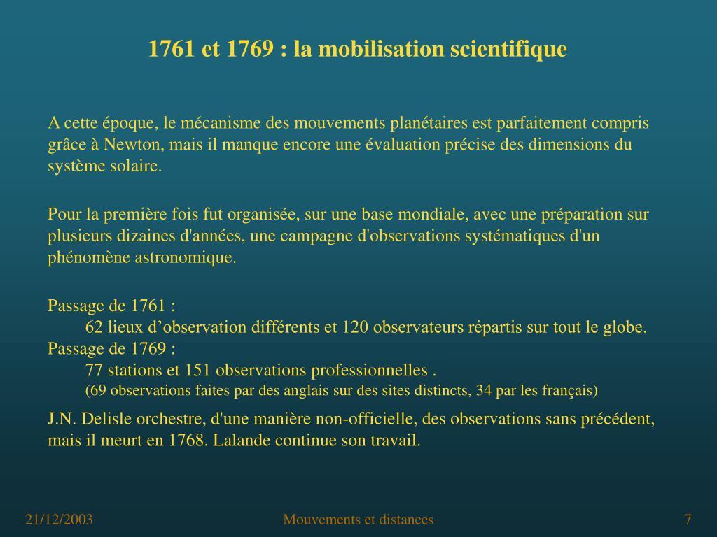 1761 et 1769: la mobilisation scientifique