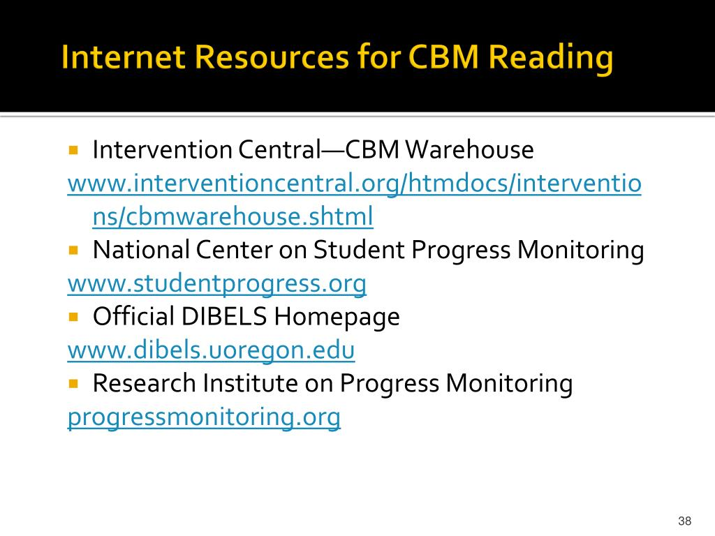 Internet Resources for CBM Reading