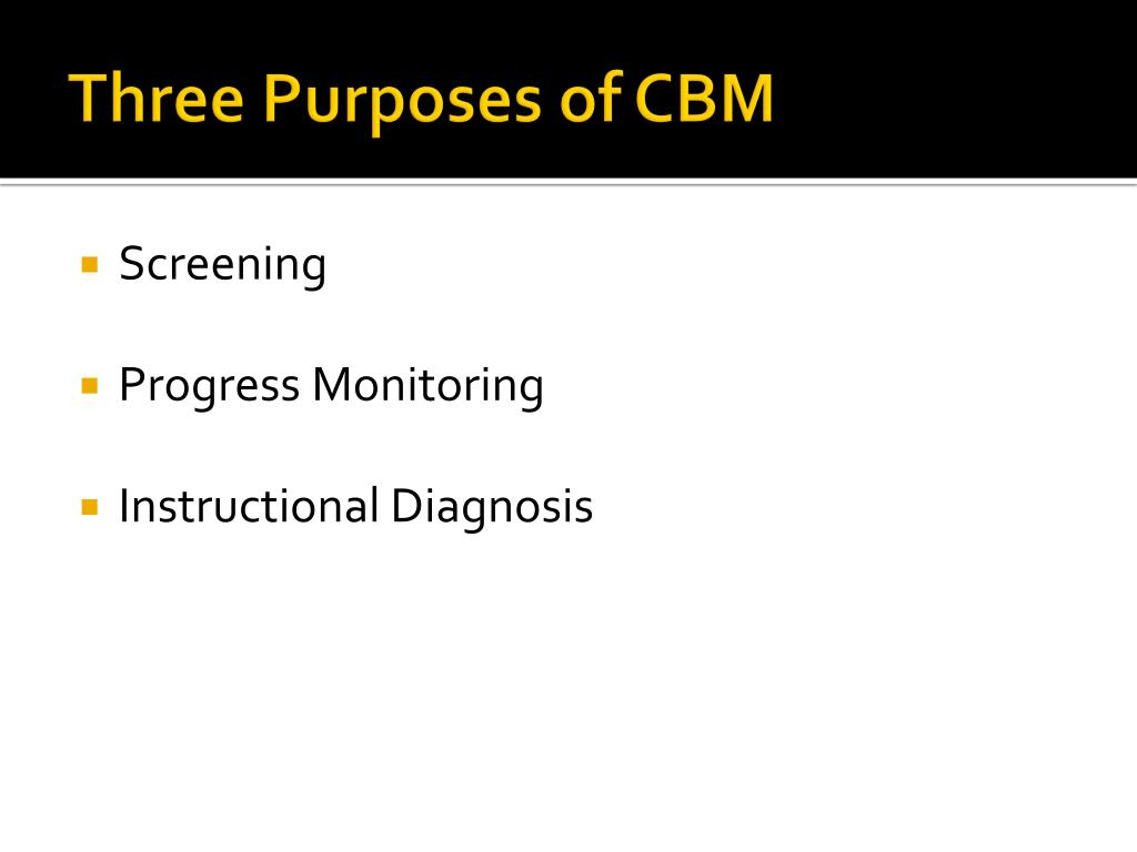 Three Purposes of CBM