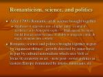 romanticism science and politics