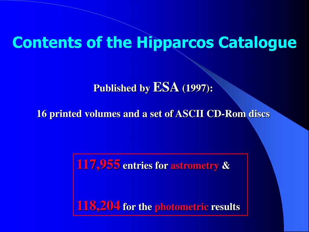 Contents of the Hipparcos Catalogue
