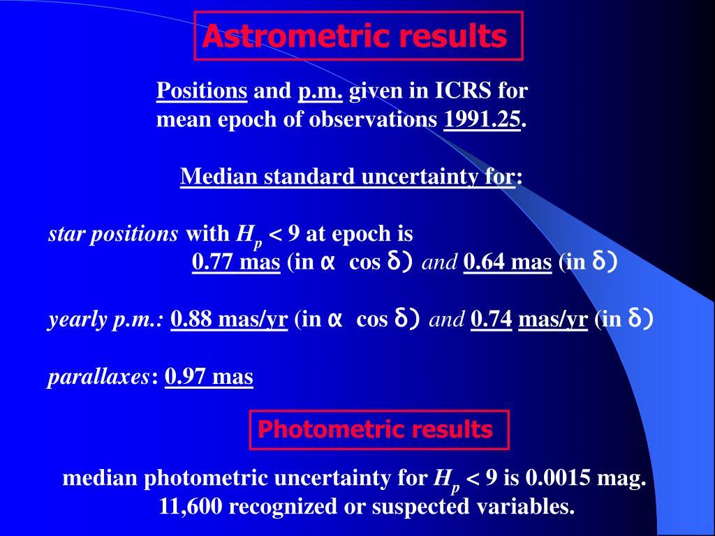 Astrometric results