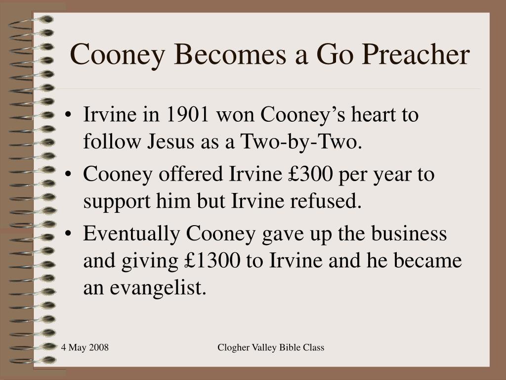 Cooney Becomes a Go Preacher