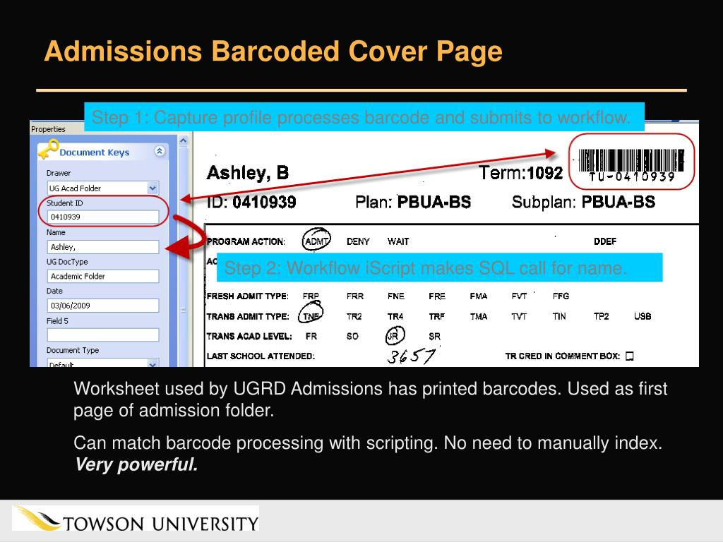 Admissions Barcoded Cover Page
