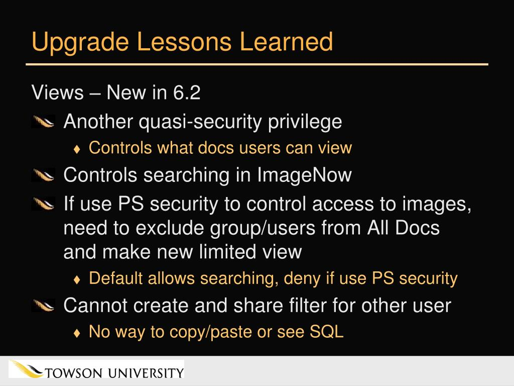 Upgrade Lessons Learned
