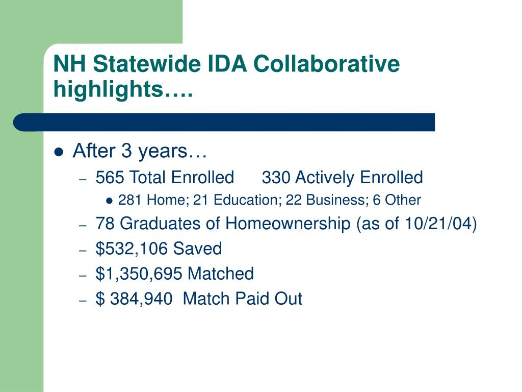 NH Statewide IDA Collaborative highlights….